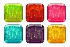 被设置的传染媒介方形的五颜六色的软泥按钮 库存照片