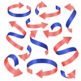 被设置的传染媒介现实丝带 蓝色和桃红色色素 免版税库存图片