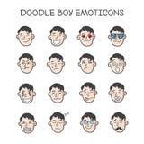 被设置的传染媒介逗人喜爱的乱画头 男孩意思号汇集 Emoji象 免版税库存照片
