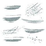 被设置的传染媒介银色油漆污迹 在白色背景的银色闪烁元素 银色发光的油漆冲程 抽象银色闪烁dus 库存图片