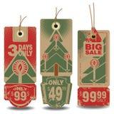 被设置的传染媒介:圣诞节和新年销售标记 库存照片