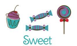 被设置的传染媒介:糖果商店标签 免版税库存图片