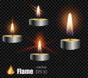 被设置的传染媒介3d现实灰色金属色的蜡烛框架式 免版税库存图片