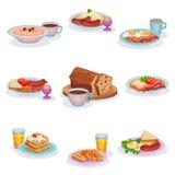 被设置的传统英式早餐盘,燕麦粥粥,捣碎了土豆用香肠,鸡蛋和火腿,经典 向量例证