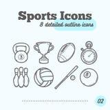 被设置的体育象(Kettlebell,战利品、橄榄球、定时器、九柱游戏用的小柱、排球、棒球,撞球) 免版税库存照片