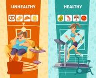 被设置的健康和不健康的妇女横幅 库存例证