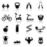 被设置的健身图标 免版税库存照片