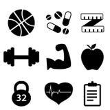 被设置的健身图标 免版税图库摄影
