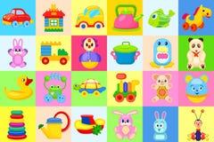 被设置的儿童的玩具大五颜六色的例证 免版税库存图片