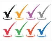 被设置的八个多彩多姿的复选框 向量例证