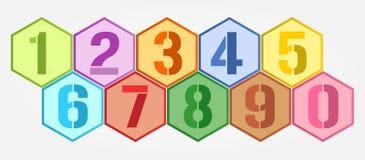 被设置的六角形五颜六色的数字 库存图片