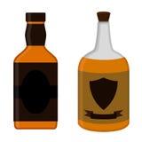 被设置的兰姆酒瓶 酒精饮料平的样式设计 传染媒介illustr 库存照片