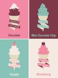 被设置的冰淇凌海报 免版税库存图片