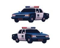 被设置的减速火箭的警车 等轴测图 警察在白色背景运输隔绝 免版税库存照片