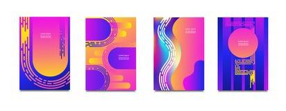 被设置的几何盖子 圆的梯度塑造构成 凉快的现代霓虹颜色 抽象可变的形状 液体和流动海报 f 皇族释放例证