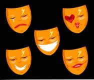 被设置的剧院面具 免版税库存照片
