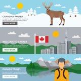 被设置的加拿大旅行水平的横幅 免版税库存图片