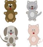 被设置的动物动画片 库存例证
