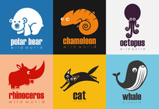 被设置的动物象-狂放的世界 免版税库存图片