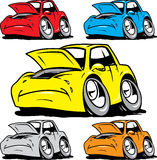 被设置的动画片汽车需要在维修服务 图库摄影