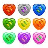 被设置的动画片五颜六色的缝合的按钮 向量例证