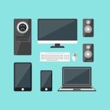被设置的动画片电子设备 向量 免版税库存图片