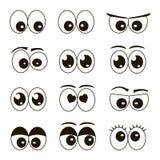 被设置的动画片眼睛 库存例证