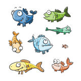 被设置的动画片鱼 免版税图库摄影