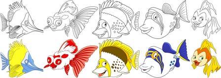 被设置的动画片鱼 免版税库存照片