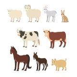 被设置的动画片:绵羊山羊驴马母牛公牛猪兔子 库存照片