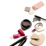 被设置的化妆用品 库存图片