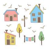 被设置的北欧斯堪的纳维亚样式房子村庄大厦 免版税库存照片