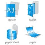 被设置的印刷店服务蓝色象 第1.部分 免版税图库摄影