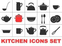 被设置的厨房图标 库存照片