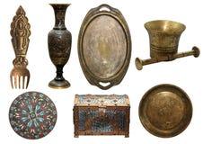 被设置的古色古香的古铜色项目 免版税库存照片