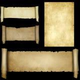 被设置的古色古香的羊皮纸纸卷 图库摄影