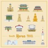 被设置的可爱的韩国建筑学 向量例证