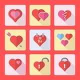 被设置的各种各样的平的样式心脏象 免版税图库摄影