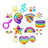 被设置的同性恋象,动画片样式 库存例证
