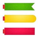 被设置的向量牛仔布织品五颜六色的徽章 免版税库存图片