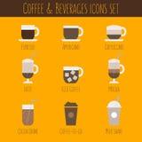 被设置的咖啡和饮料象 免版税图库摄影