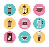 被设置的咖啡图标 图库摄影
