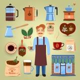 被设置的咖啡图标 免版税库存图片