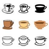 被设置的咖啡杯图标 免版税图库摄影