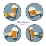 被设置的啤酒图标 免版税库存照片