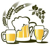 被设置的啤酒杯 库存例证