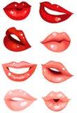 被设置的嘴唇 库存例证