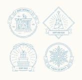 被设置的圣诞快乐和新年快乐徽章 库存图片