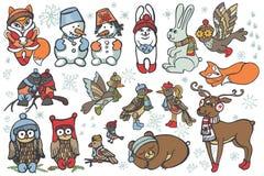 被设置的圣诞节动物 滑稽的forestWinter 免版税库存图片