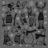 被设置的圣诞节动物 向量例证